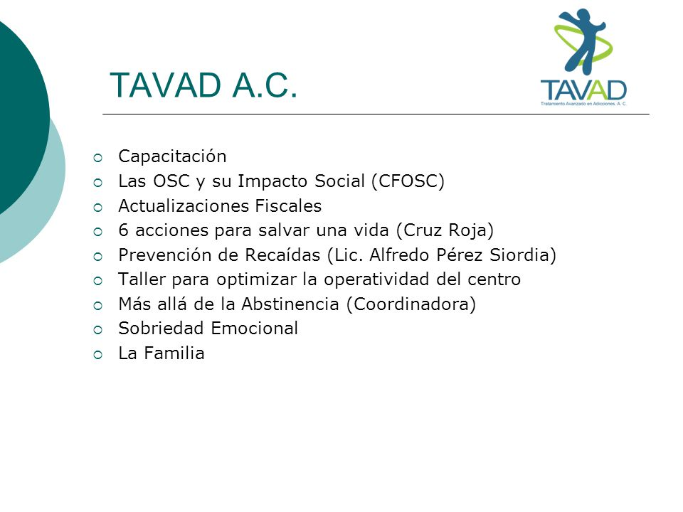 TAVAD A.C. Capacitación Las OSC y su Impacto Social (CFOSC)