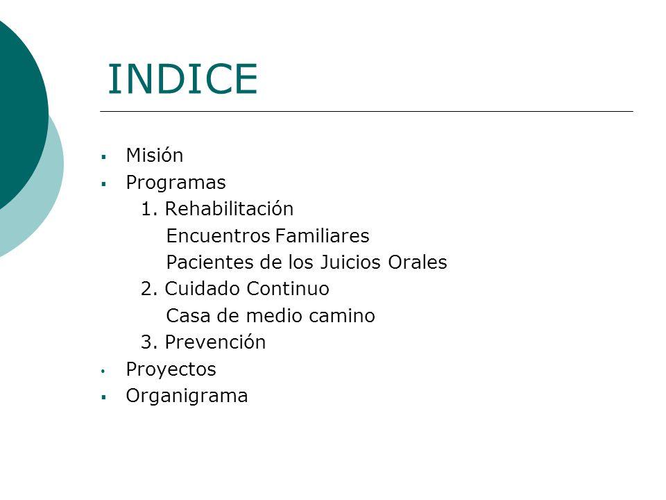 INDICE Misión Programas 1. Rehabilitación Encuentros Familiares