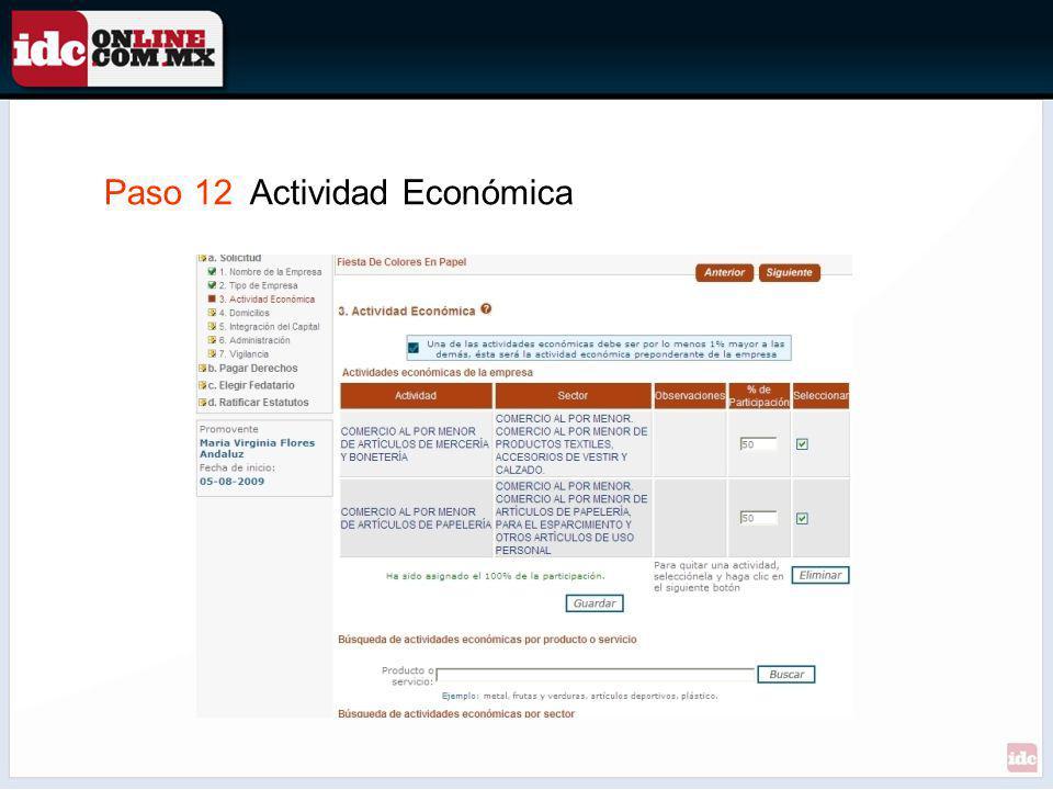 Paso 12 Actividad Económica