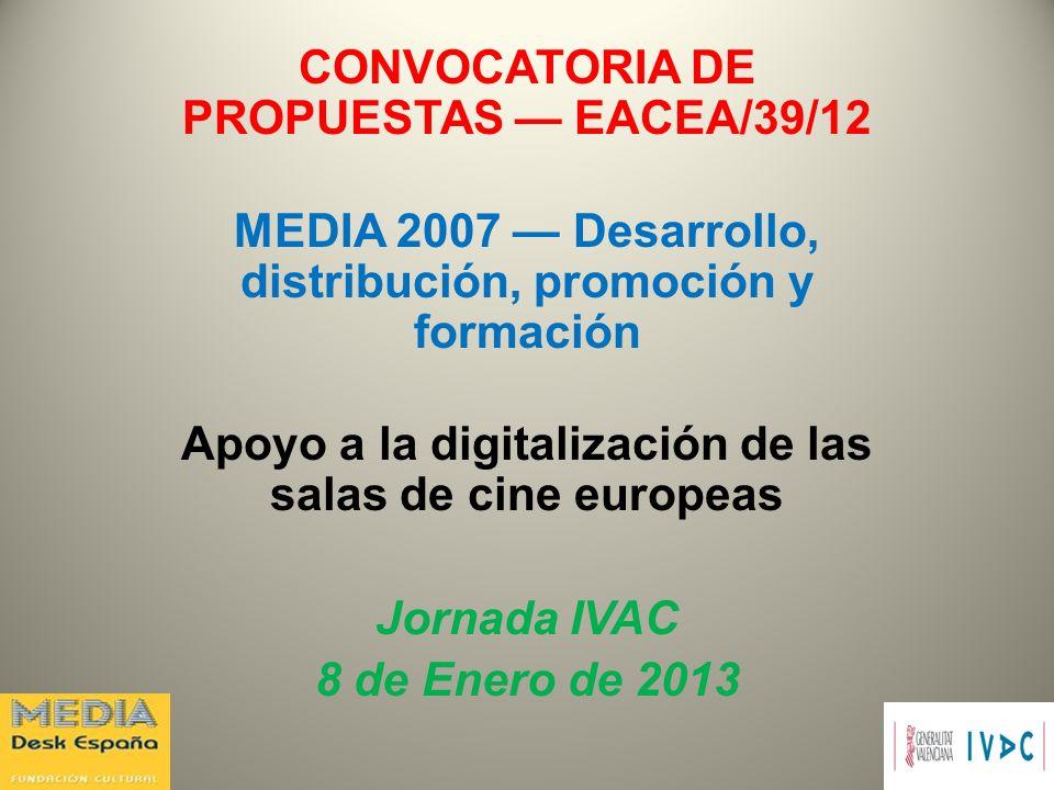 CONVOCATORIA DE PROPUESTAS — EACEA/39/12