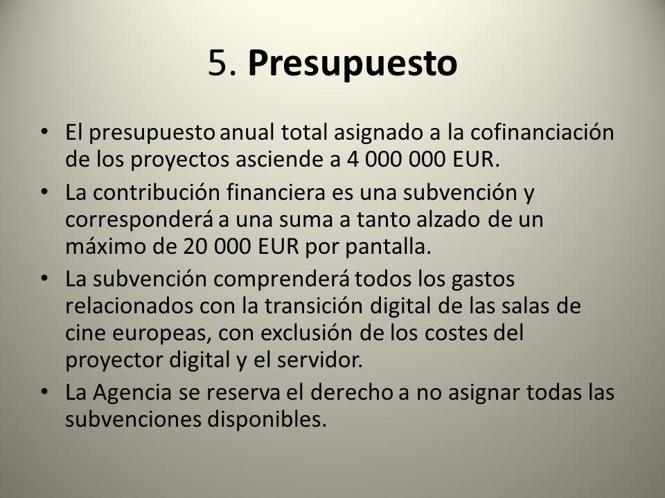 5. PresupuestoEl presupuesto anual total asignado a la cofinanciación de los proyectos asciende a 4 000 000 EUR.