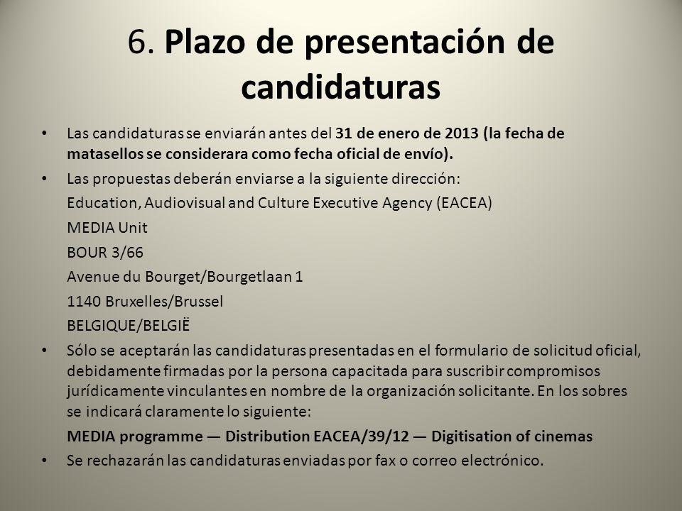 6. Plazo de presentación de candidaturas
