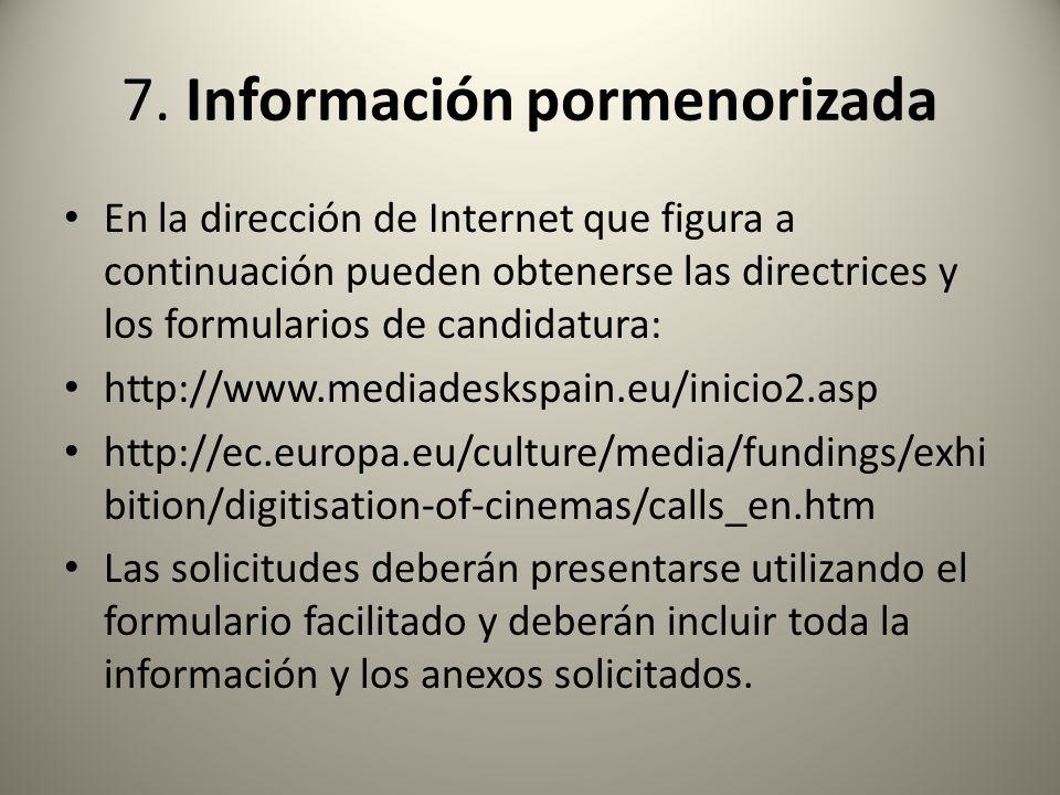 7. Información pormenorizada