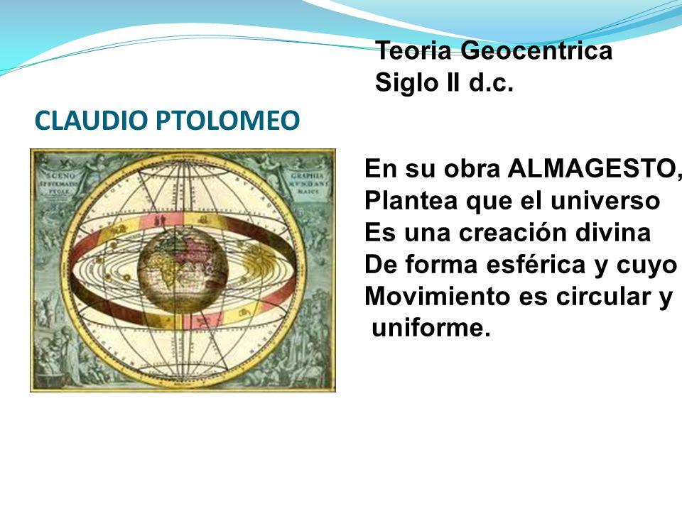 CLAUDIO PTOLOMEO Teoria Geocentrica Siglo II d.c.