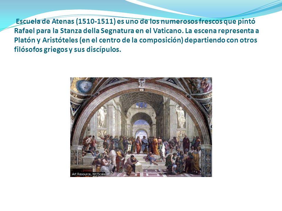Escuela de Atenas (1510-1511) es uno de los numerosos frescos que pintó Rafael para la Stanza della Segnatura en el Vaticano.