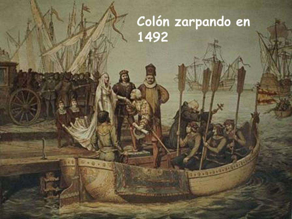 Colón zarpando en 1492