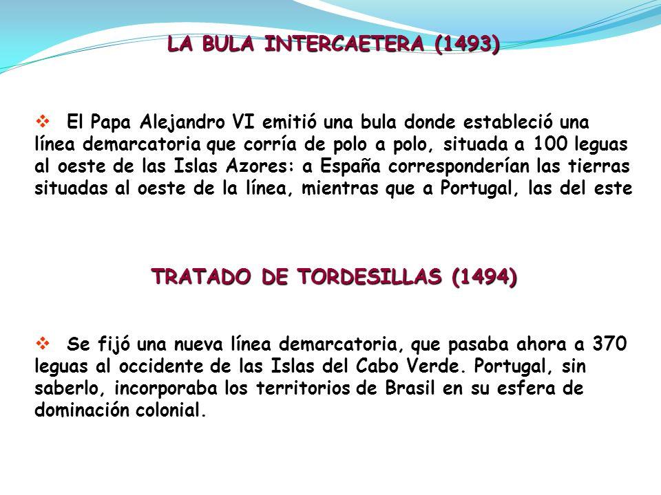 LA BULA INTERCAETERA (1493) TRATADO DE TORDESILLAS (1494)