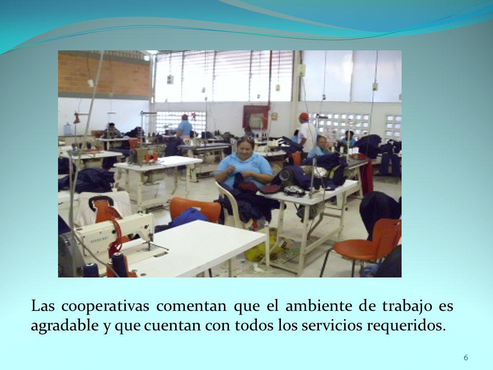 Las cooperativas comentan que el ambiente de trabajo es agradable y que cuentan con todos los servicios requeridos.