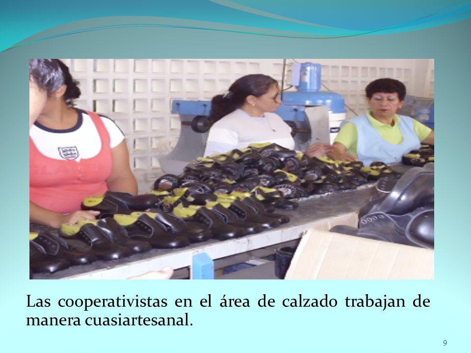 Las cooperativistas en el área de calzado trabajan de manera cuasiartesanal.