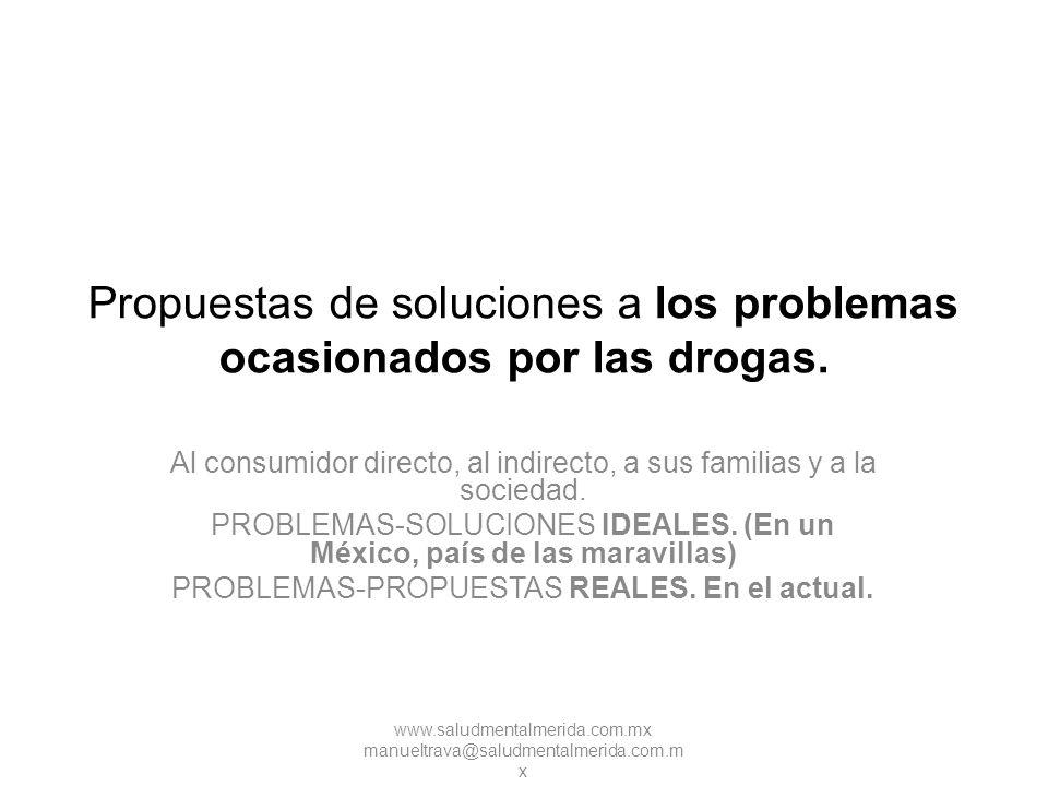 Propuestas de soluciones a los problemas ocasionados por las drogas.