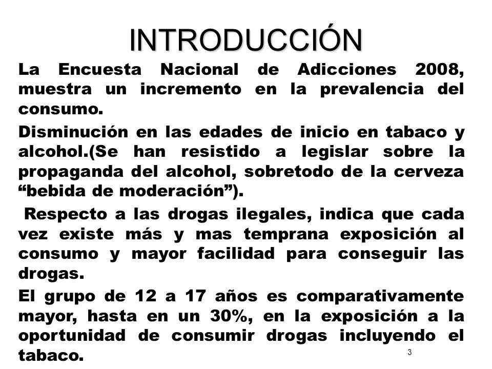 INTRODUCCIÓN La Encuesta Nacional de Adicciones 2008, muestra un incremento en la prevalencia del consumo.