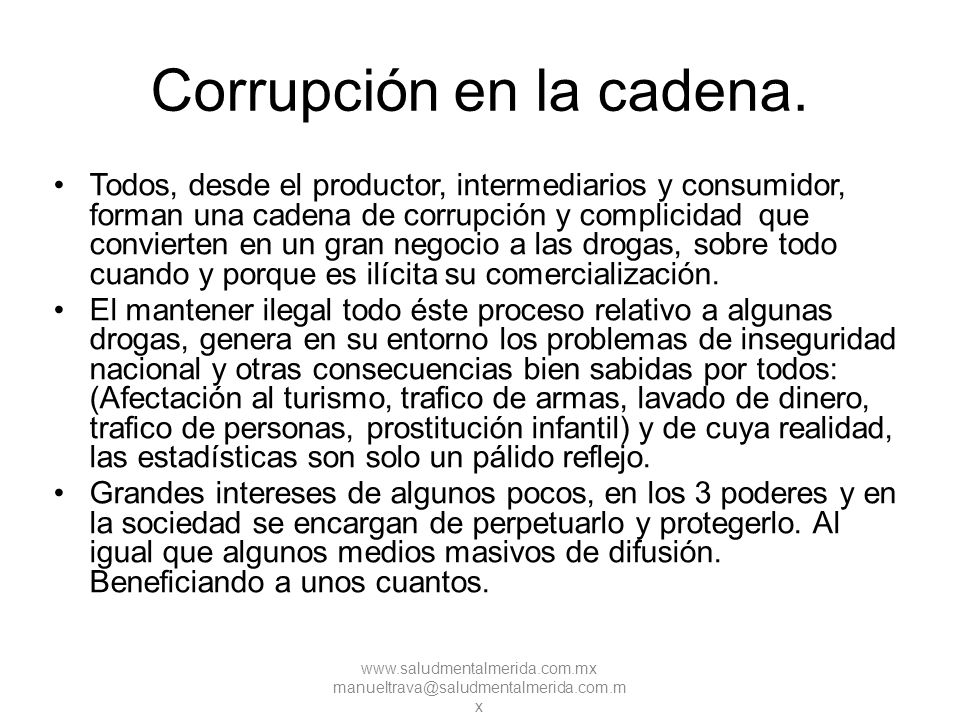 Corrupción en la cadena.