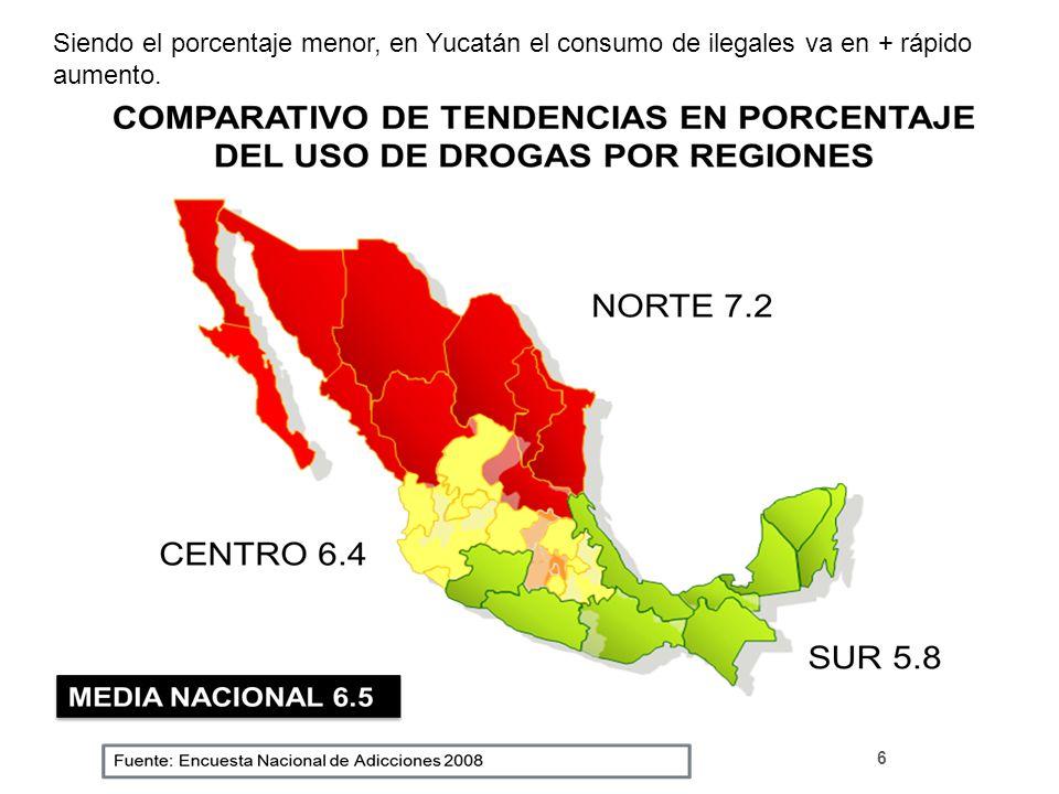 Siendo el porcentaje menor, en Yucatán el consumo de ilegales va en + rápido aumento.