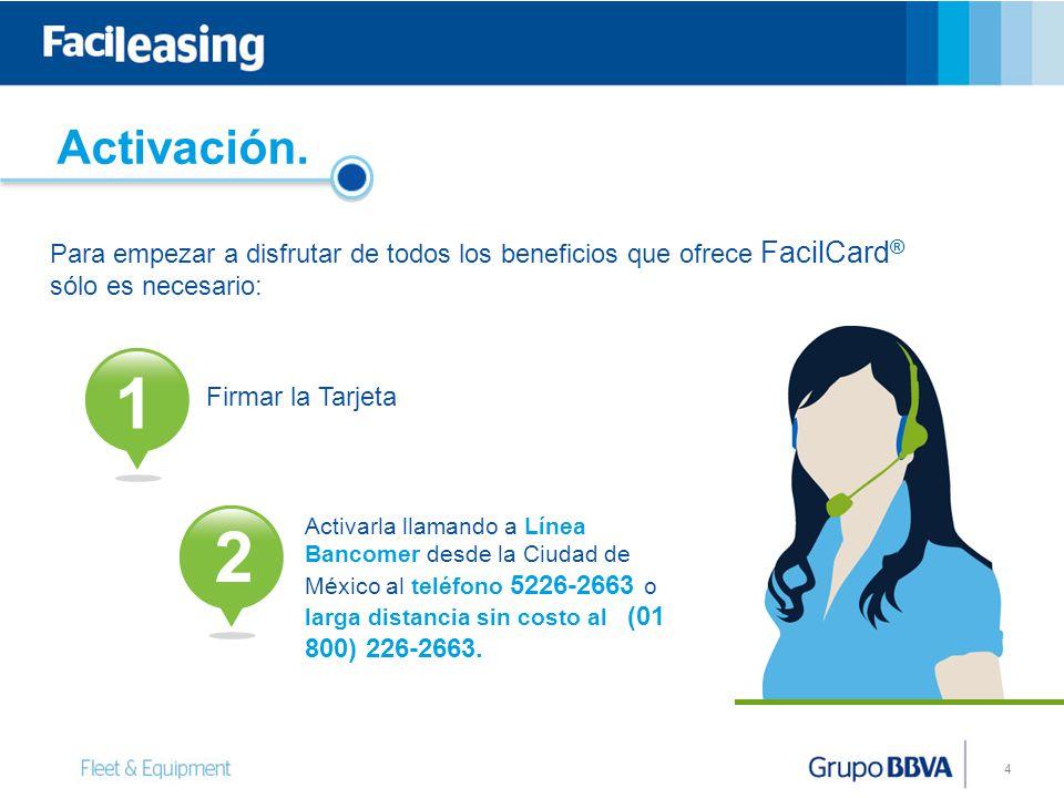 Activación. Para empezar a disfrutar de todos los beneficios que ofrece FacilCard® sólo es necesario: