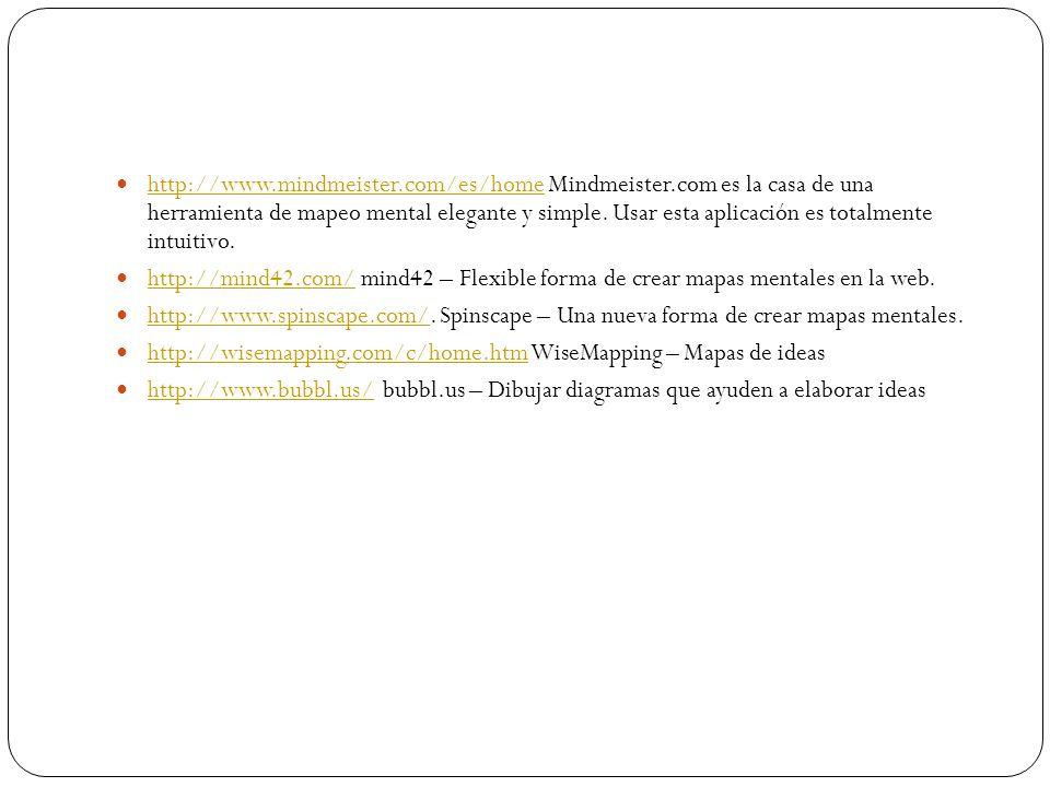 http://www. mindmeister. com/es/home Mindmeister