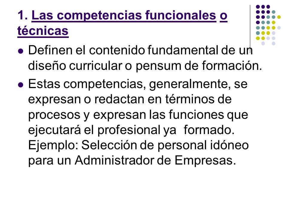 1. Las competencias funcionales o técnicas
