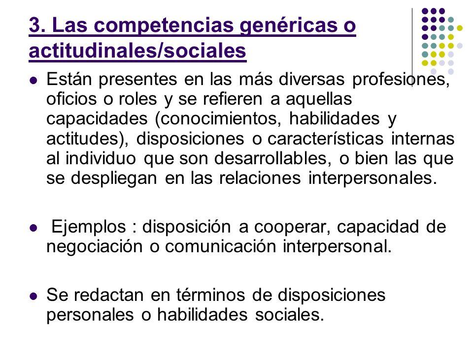 3. Las competencias genéricas o actitudinales/sociales