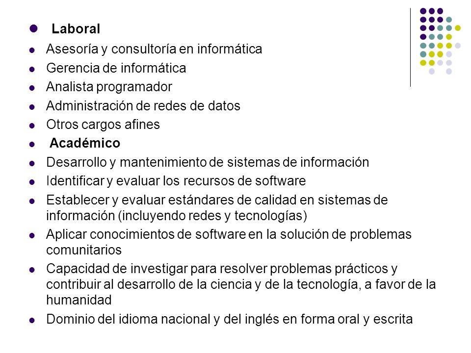 Laboral Asesoría y consultoría en informática Gerencia de informática