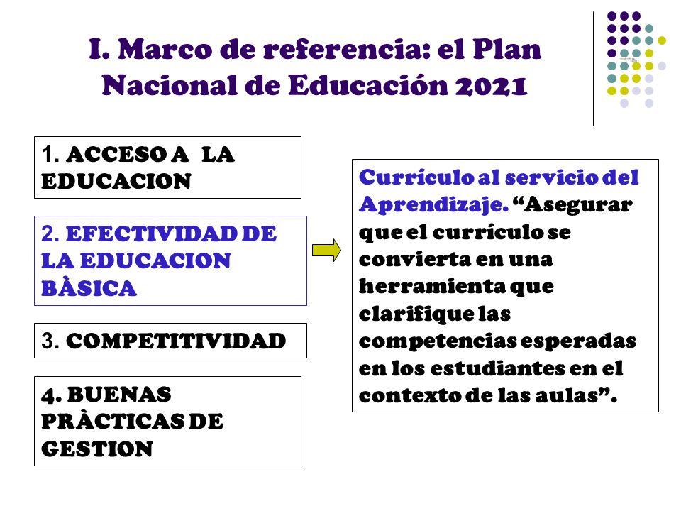 I. Marco de referencia: el Plan Nacional de Educación 2021