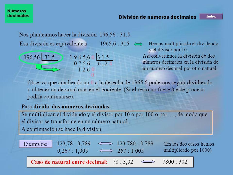 Nos planteamos hacer la división 196,56 : 31,5.