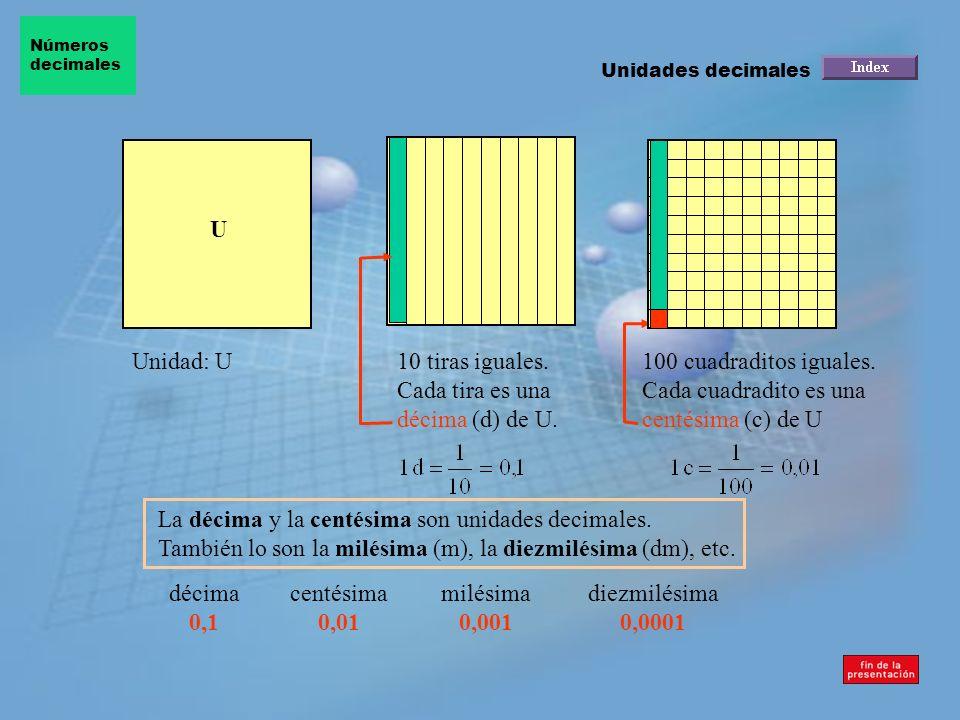 10 tiras iguales. Cada tira es una décima (d) de U.