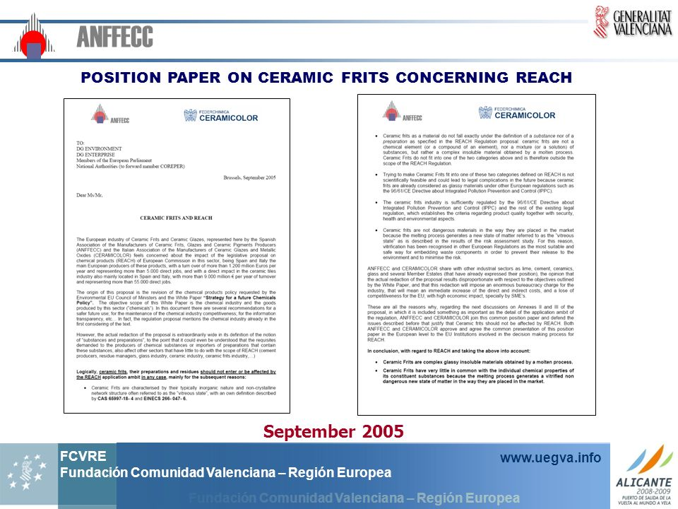 POSITION PAPER ON CERAMIC FRITS CONCERNING REACH