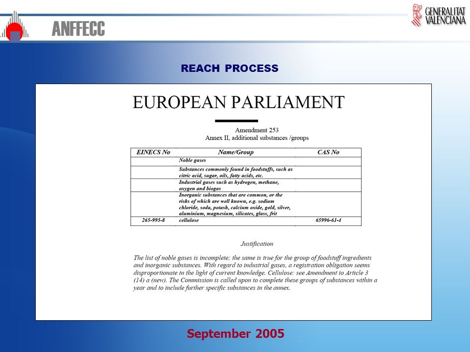 ANFFECC REACH PROCESS September 2005