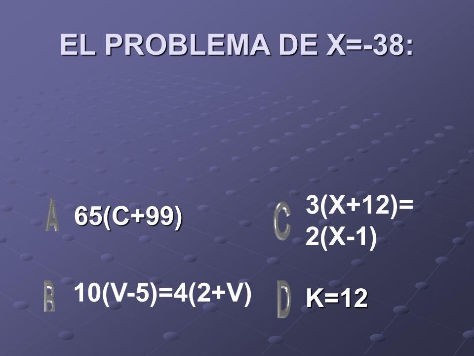 EL PROBLEMA DE X=-38: 3(X+12)= 2(X-1) 65(C+99) 10(V-5)=4(2+V) K=12
