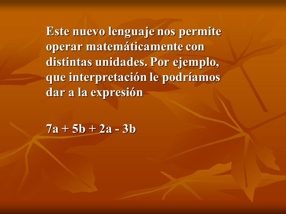 Este nuevo lenguaje nos permite operar matemáticamente con distintas unidades. Por ejemplo, que interpretación le podríamos dar a la expresión