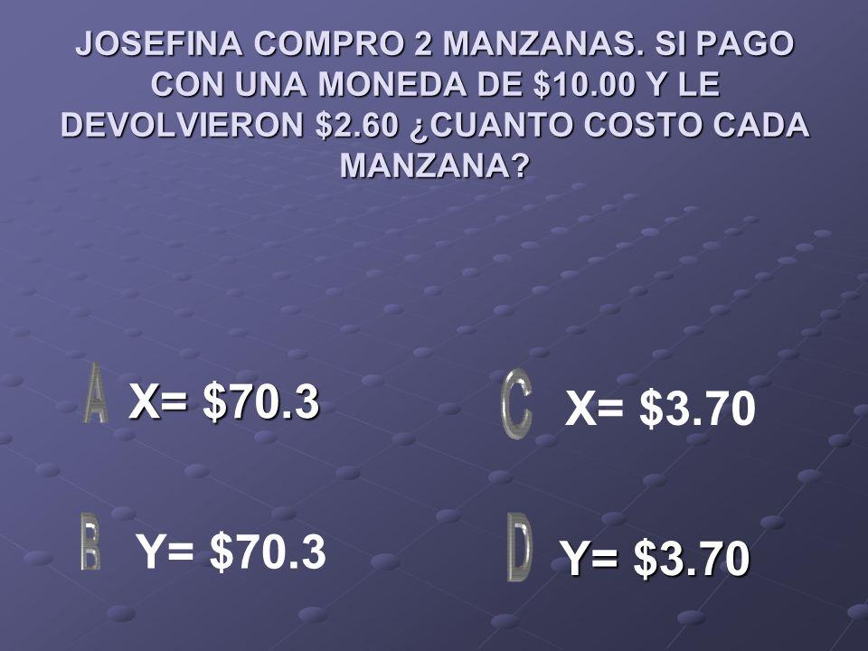 JOSEFINA COMPRO 2 MANZANAS. SI PAGO CON UNA MONEDA DE $10