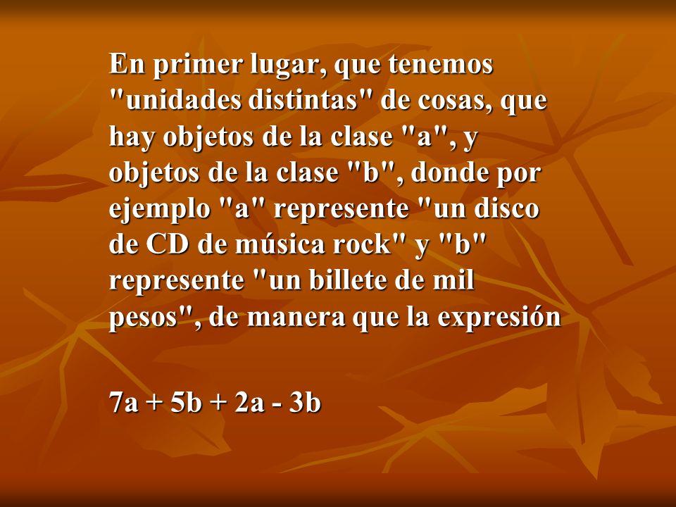 En primer lugar, que tenemos unidades distintas de cosas, que hay objetos de la clase a , y objetos de la clase b , donde por ejemplo a represente un disco de CD de música rock y b represente un billete de mil pesos , de manera que la expresión