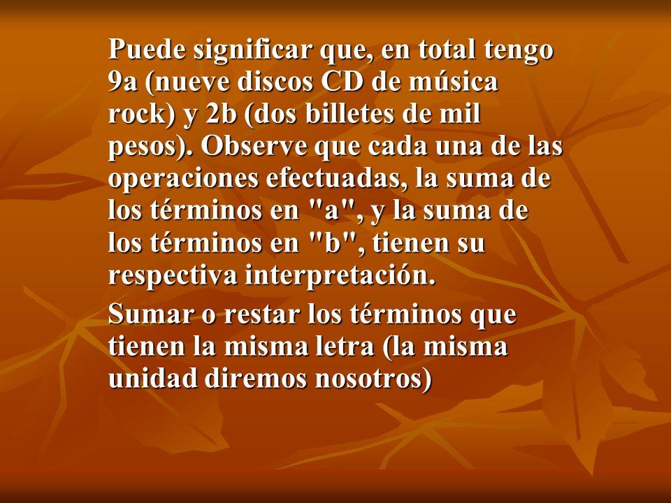 Puede significar que, en total tengo 9a (nueve discos CD de música rock) y 2b (dos billetes de mil pesos). Observe que cada una de las operaciones efectuadas, la suma de los términos en a , y la suma de los términos en b , tienen su respectiva interpretación.