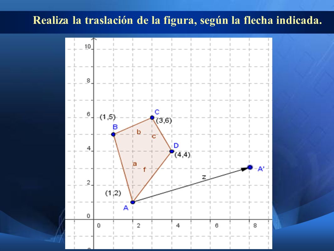 Realiza la traslación de la figura, según la flecha indicada.
