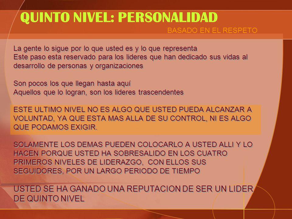 QUINTO NIVEL: PERSONALIDAD