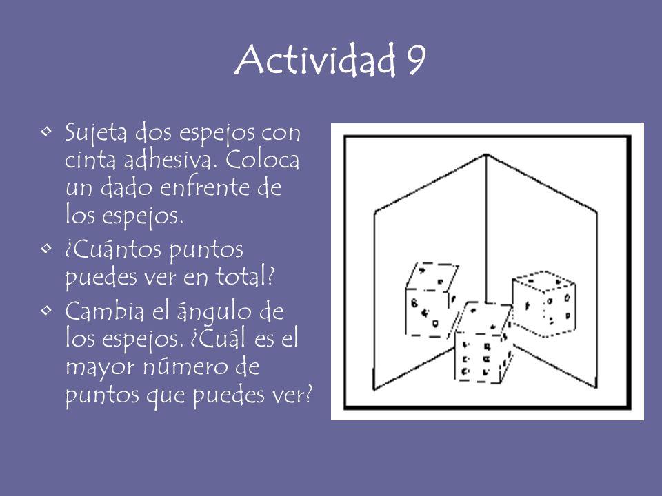 Actividad 9 Sujeta dos espejos con cinta adhesiva. Coloca un dado enfrente de los espejos. ¿Cuántos puntos puedes ver en total