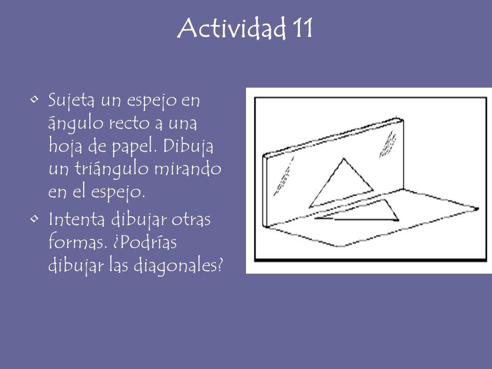 Actividad 11 Sujeta un espejo en ángulo recto a una hoja de papel. Dibuja un triángulo mirando en el espejo.