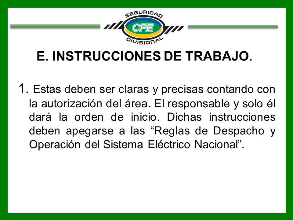 E. INSTRUCCIONES DE TRABAJO.