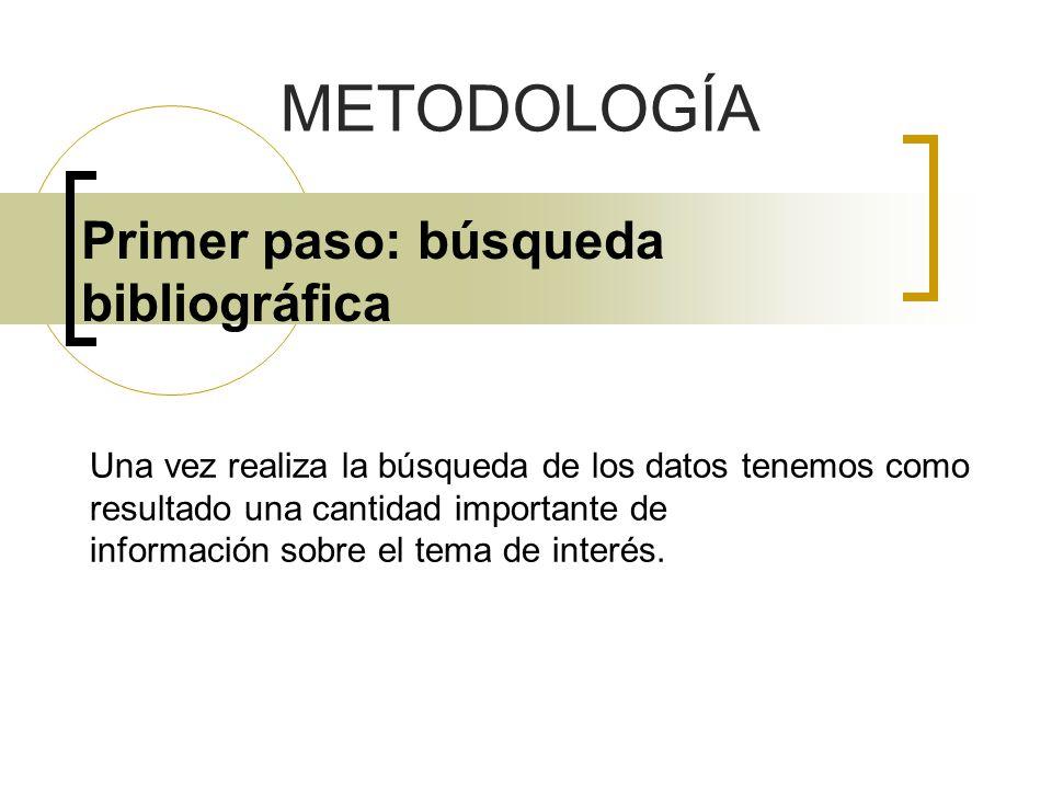 Primer paso: búsqueda bibliográfica