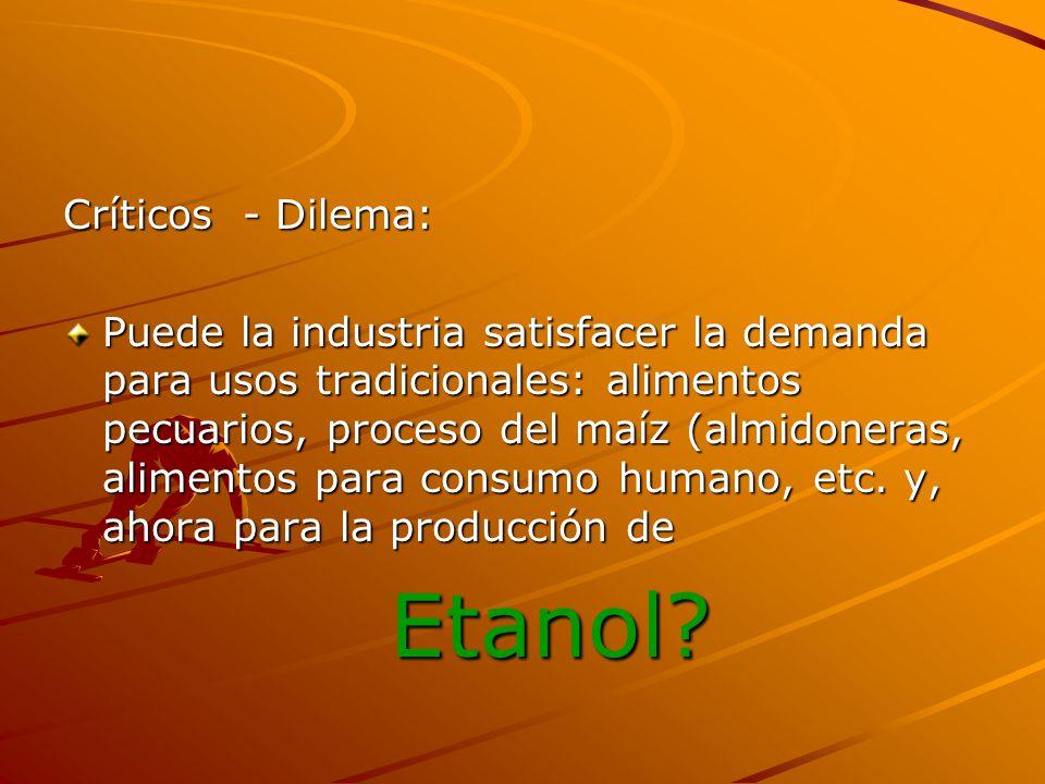 Etanol Críticos - Dilema: