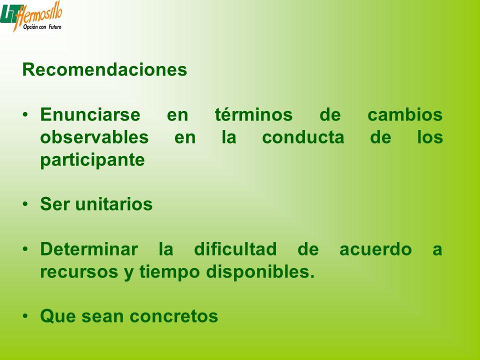 Recomendaciones Enunciarse en términos de cambios observables en la conducta de los participante. Ser unitarios.