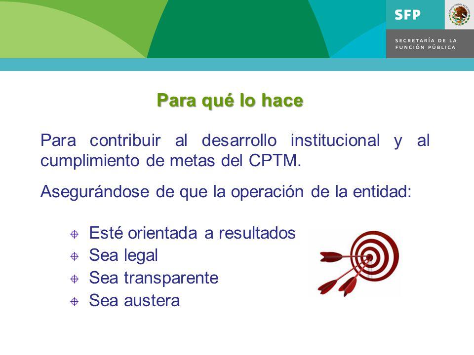 Para qué lo hace Para contribuir al desarrollo institucional y al cumplimiento de metas del CPTM. Asegurándose de que la operación de la entidad: