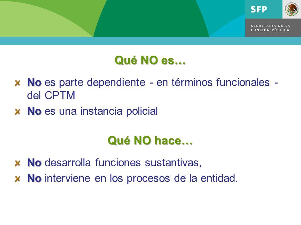 Qué NO es… No es parte dependiente - en términos funcionales - del CPTM. No es una instancia policial.