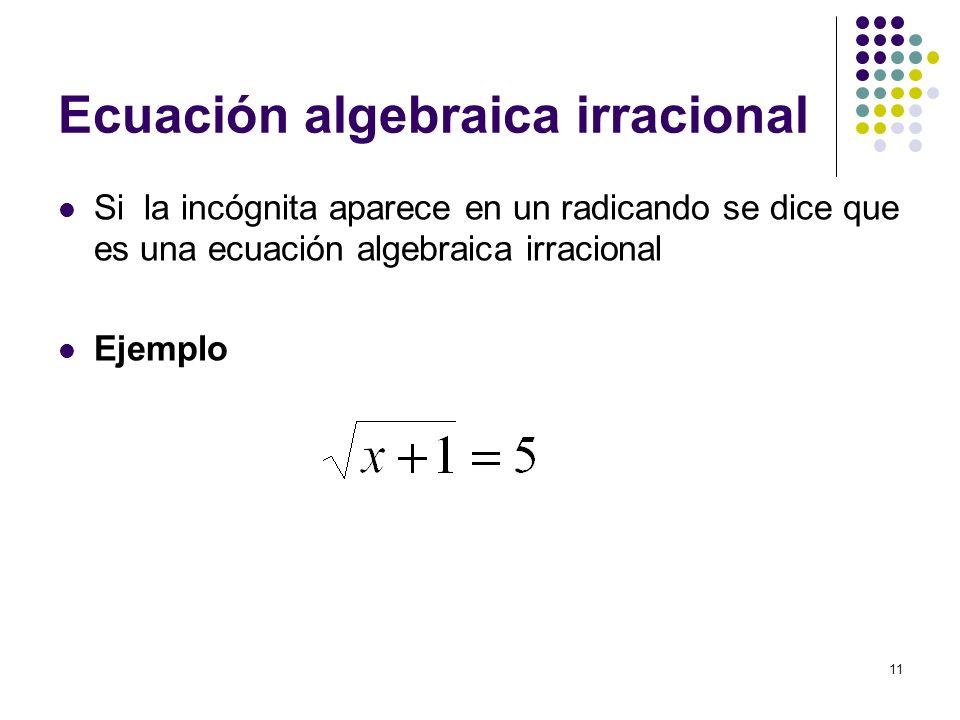 Ecuación algebraica irracional