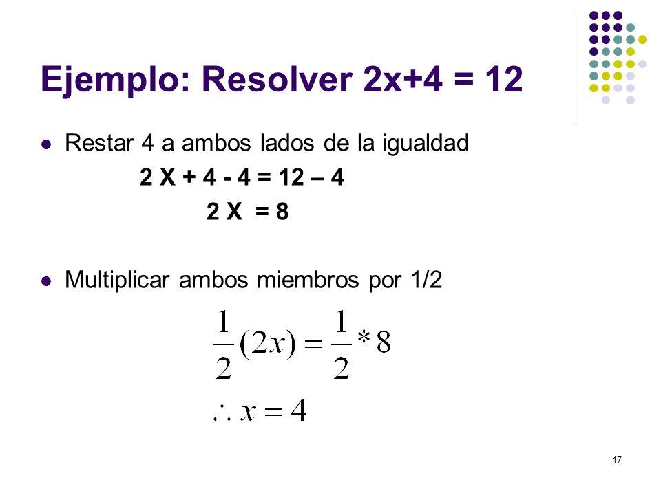 Ejemplo: Resolver 2x+4 = 12 Restar 4 a ambos lados de la igualdad