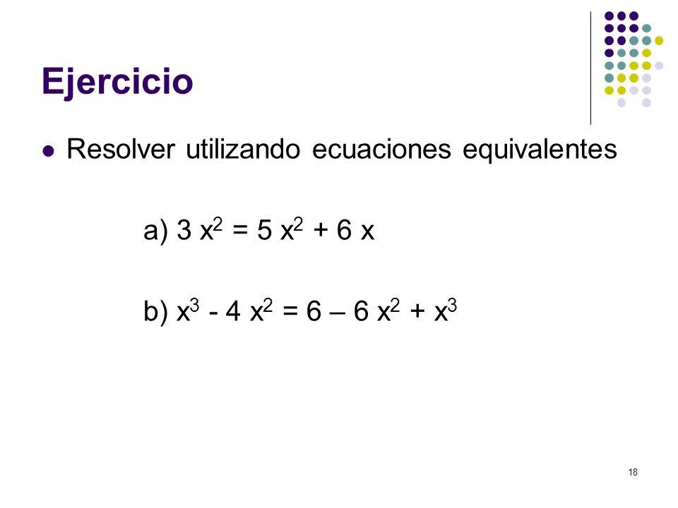 Ejercicio Resolver utilizando ecuaciones equivalentes