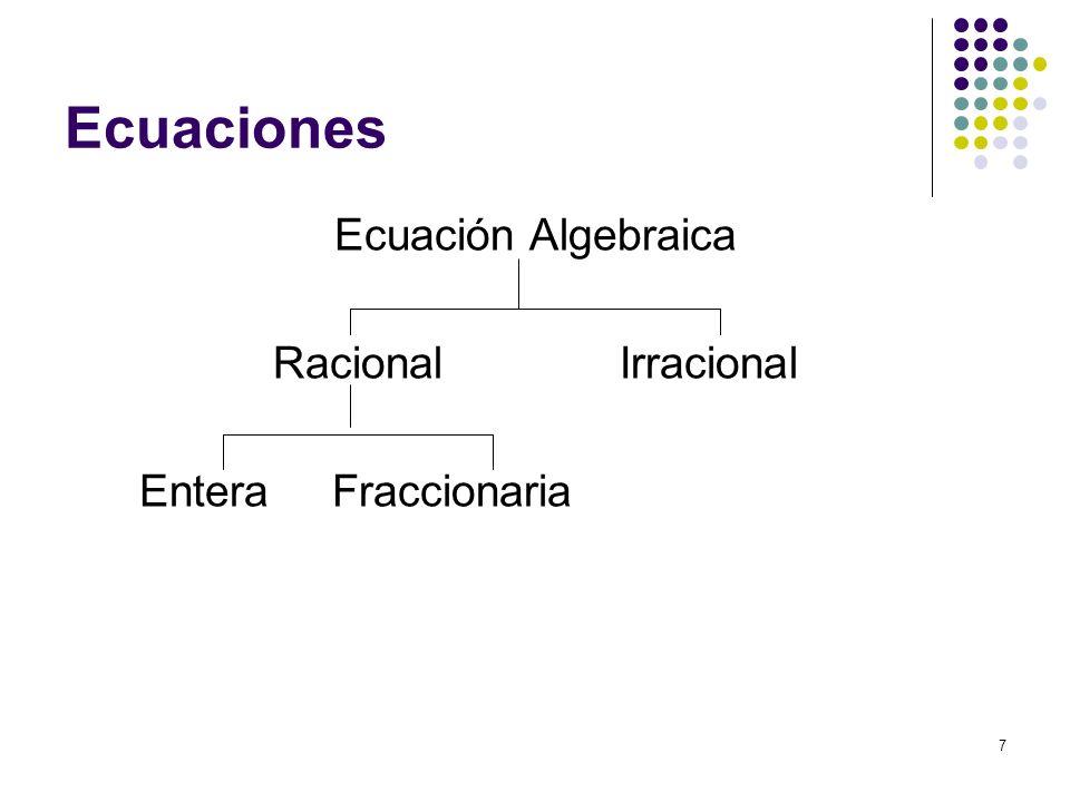 Ecuaciones Ecuación Algebraica Racional Irracional Entera Fraccionaria