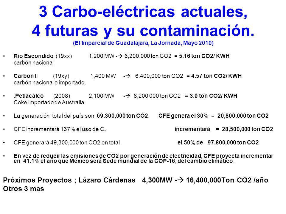 3 Carbo-eléctricas actuales, 4 futuras y su contaminación