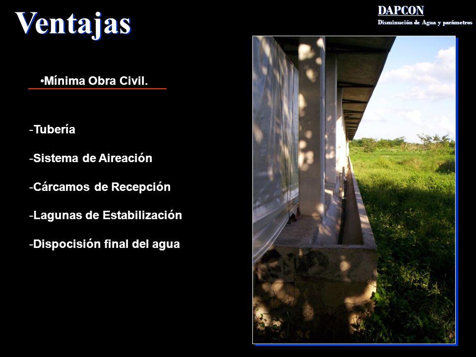 Ventajas DAPCON Mínima Obra Civil. Tubería Sistema de Aireación