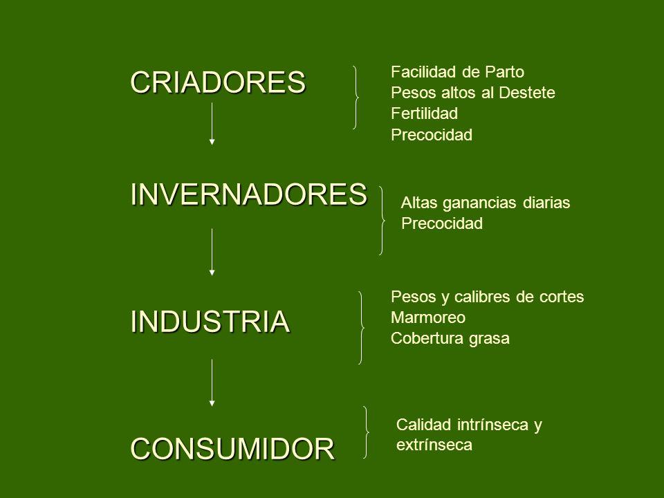 CRIADORES INVERNADORES INDUSTRIA CONSUMIDOR Facilidad de Parto