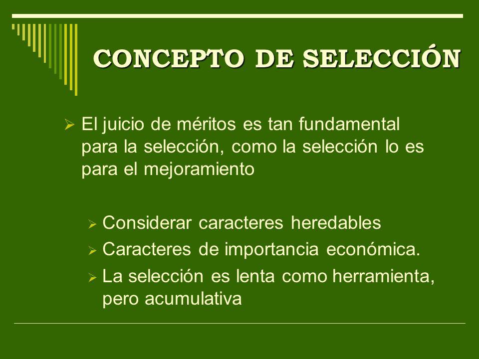 CONCEPTO DE SELECCIÓN El juicio de méritos es tan fundamental para la selección, como la selección lo es para el mejoramiento.